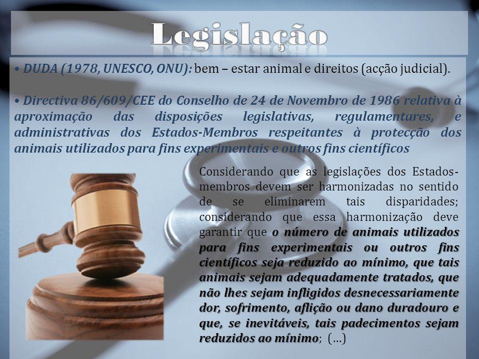 DUDA (1978, UNESCO, ONU): bem – estar animal e direitos (acção judicial).