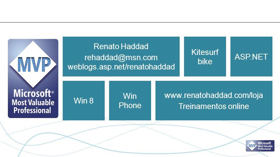 Renato Haddad rehaddad@msn.com weblogs.asp.net/renatohaddad www.renatohaddad.com/loja Treinamentos online Kitesurf bike ASP.NET Win 8 Win Phone