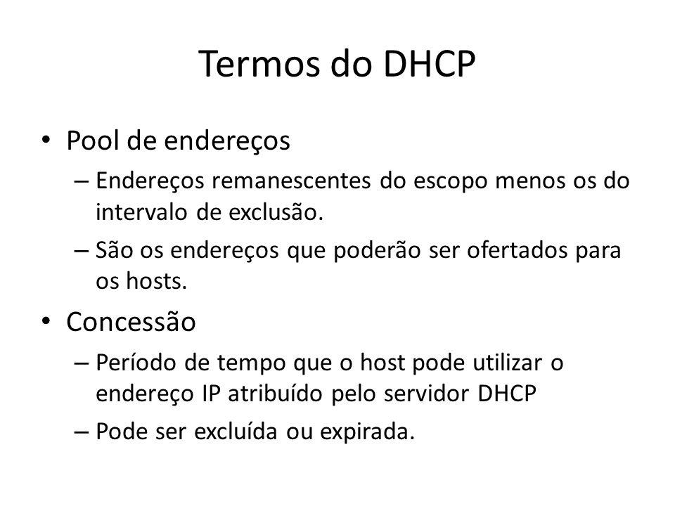 Termos do DHCP Pool de endereços – Endereços remanescentes do escopo menos os do intervalo de exclusão. – São os endereços que poderão ser ofertados p
