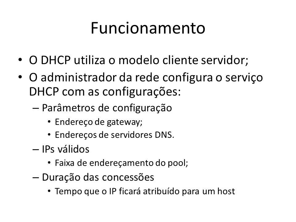 Funcionamento O DHCP utiliza o modelo cliente servidor; O administrador da rede configura o serviço DHCP com as configurações: – Parâmetros de configu