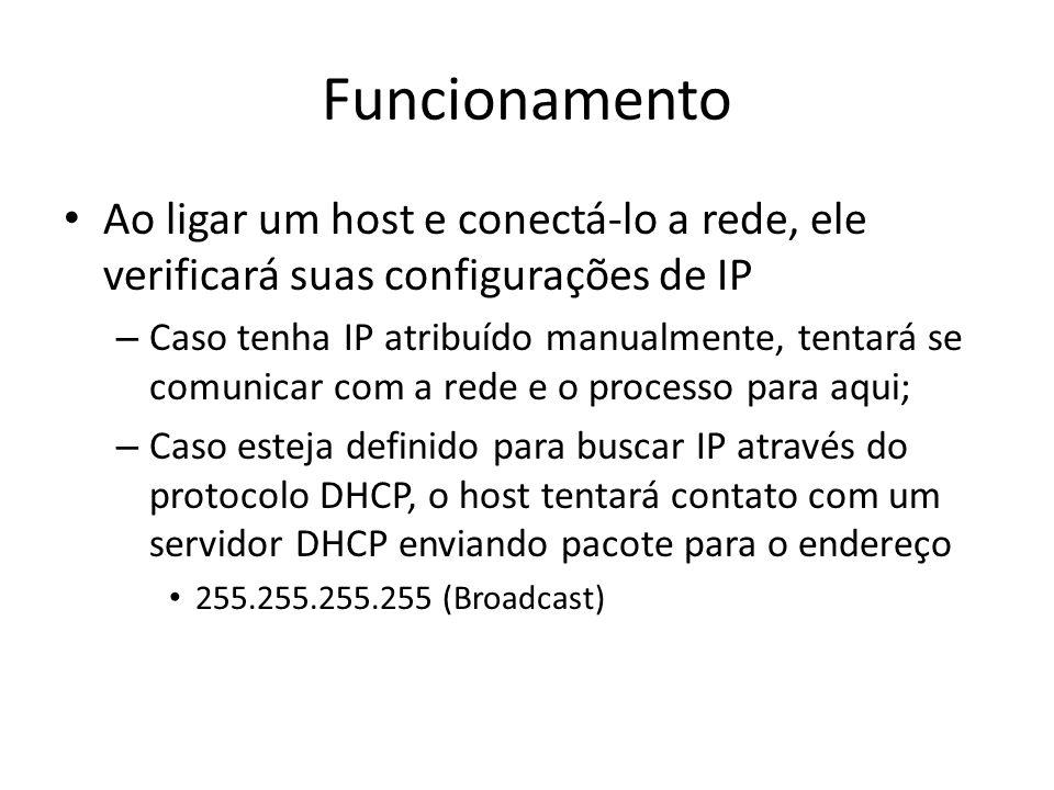 Funcionamento Ao ligar um host e conectá-lo a rede, ele verificará suas configurações de IP – Caso tenha IP atribuído manualmente, tentará se comunica