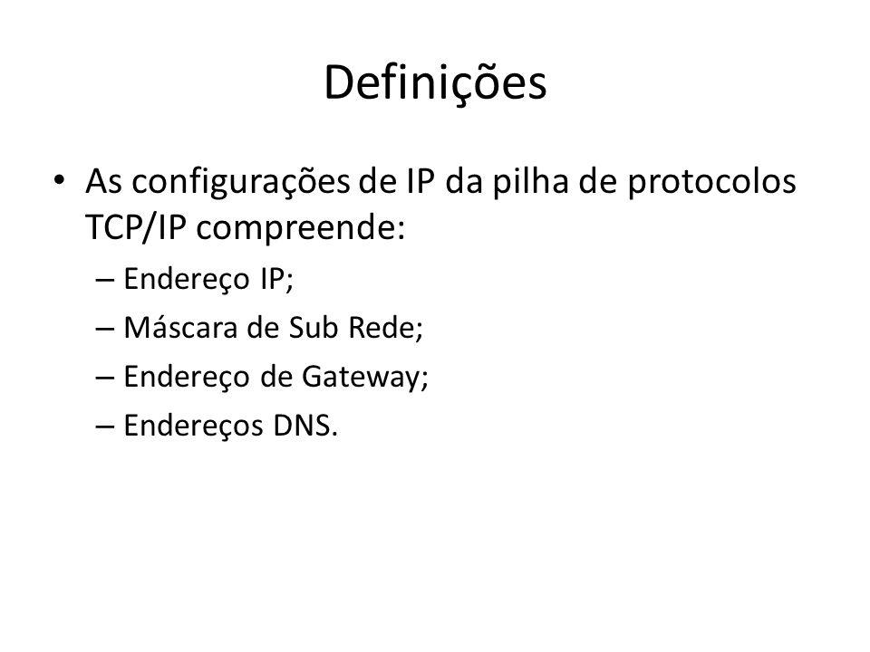 Definições As configurações de IP da pilha de protocolos TCP/IP compreende: – Endereço IP; – Máscara de Sub Rede; – Endereço de Gateway; – Endereços D