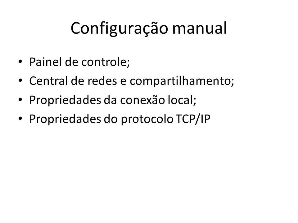Configuração manual Painel de controle; Central de redes e compartilhamento; Propriedades da conexão local; Propriedades do protocolo TCP/IP