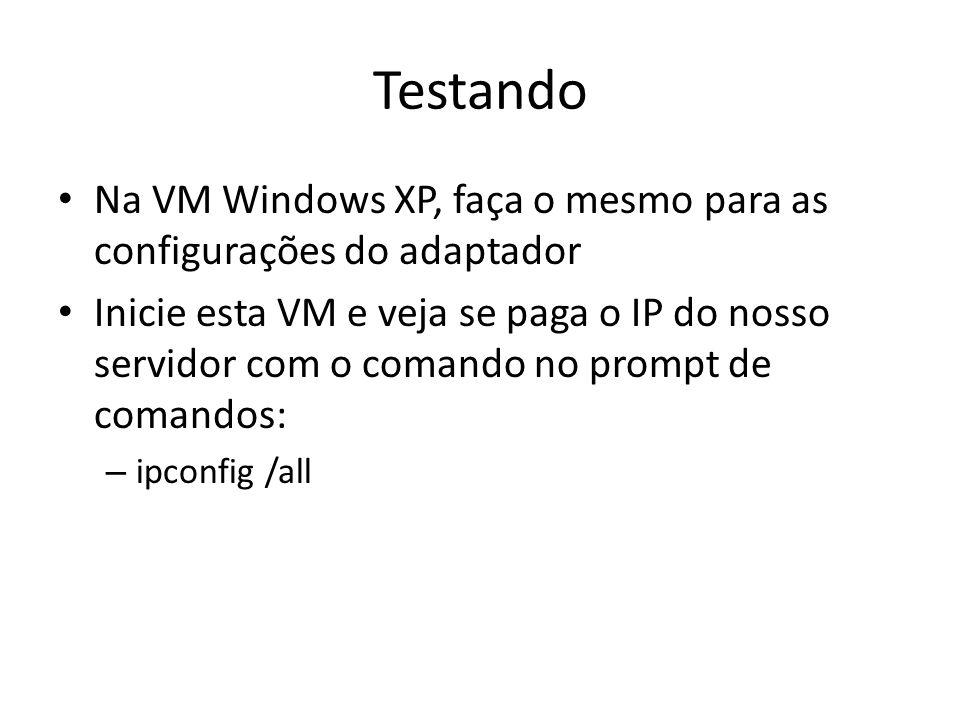 Na VM Windows XP, faça o mesmo para as configurações do adaptador Inicie esta VM e veja se paga o IP do nosso servidor com o comando no prompt de coma