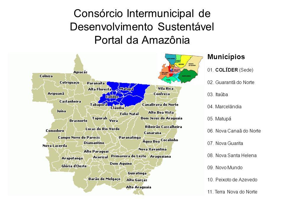 Consórcio Intermunicipal de Desenvolvimento Sustentável Portal da Amazônia Municípios 01. COL Í DER (Sede) 02. Guarantã do Norte 03. Ita ú ba 04. Marc