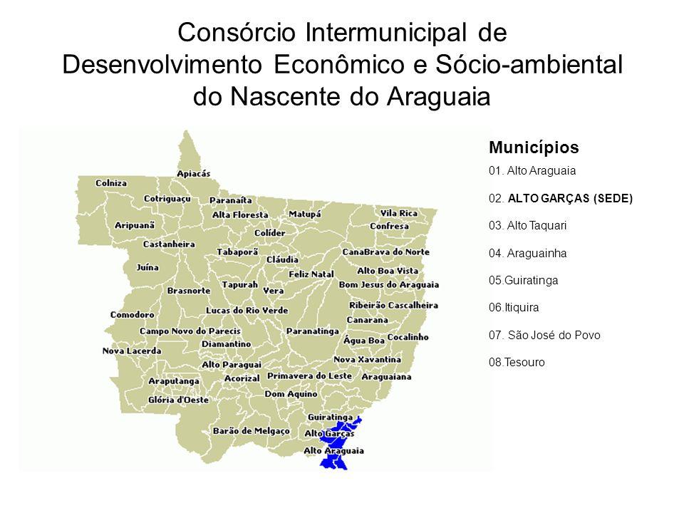 Consórcio Intermunicipal de Desenvolvimento Econômico e Sócio-ambiental do Nascente do Araguaia Municípios 01. Alto Araguaia 02. ALTO GARÇAS (SEDE) 03