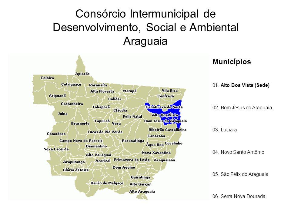 Consórcio Intermunicipal de Desenvolvimento, Social e Ambiental Araguaia Municípios 01. Alto Boa Vista (Sede) 02. Bom Jesus do Araguaia 03. Luci ara 0