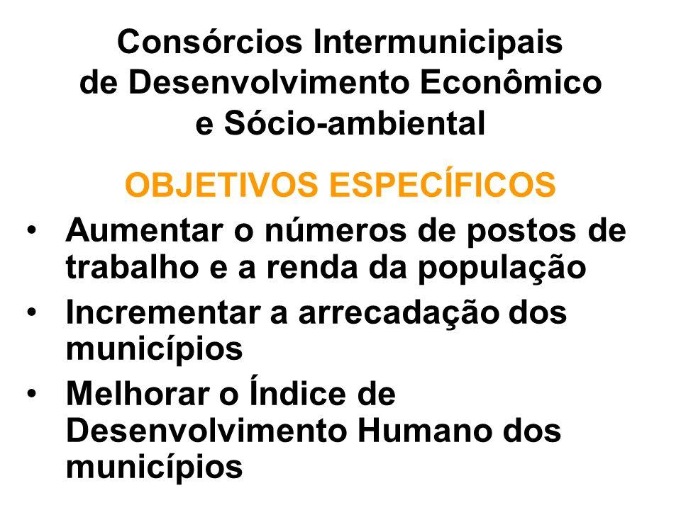 OBJETIVOS ESPECÍFICOS Aumentar o números de postos de trabalho e a renda da população Incrementar a arrecadação dos municípios Melhorar o Índice de Desenvolvimento Humano dos municípios Consórcios Intermunicipais de Desenvolvimento Econômico e Sócio-ambiental