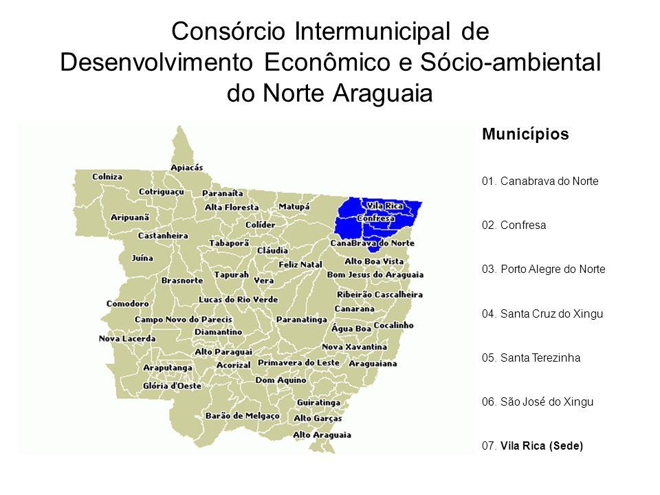 Consórcio Intermunicipal de Desenvolvimento Econômico e Sócio-ambiental do Norte Araguaia Municípios 01. Canabrava do Norte 02. Confresa 03. Porto Ale