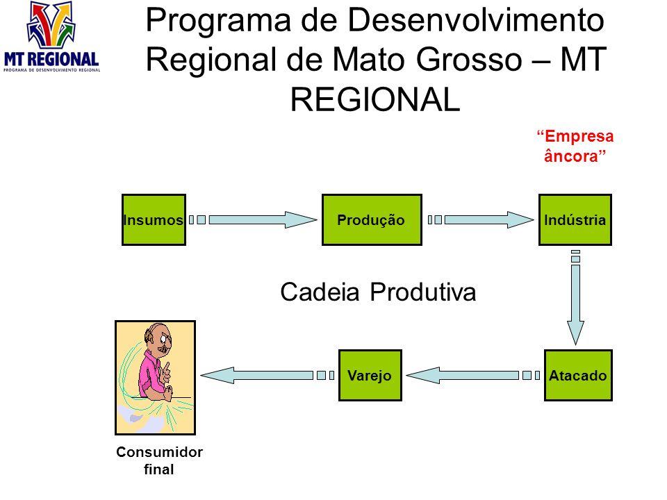 Programa de Desenvolvimento Regional de Mato Grosso – MT REGIONAL InsumosProduçãoIndústria AtacadoVarejo Cadeia Produtiva Consumidor final Empresa âncora