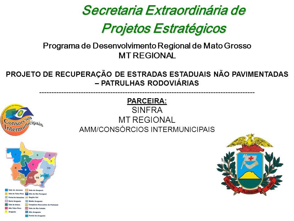 Secretaria Extraordinária de Projetos Estratégicos Programa de Desenvolvimento Regional de Mato Grosso MT REGIONAL PROJETO DE RECUPERAÇÃO DE ESTRADAS ESTADUAIS NÃO PAVIMENTADAS – PATRULHAS RODOVIÁRIAS ---------------------------------------------------------------------------------------- PARCEIRA: SINFRA MT REGIONAL AMM/CONSÓRCIOS INTERMUNICIPAIS