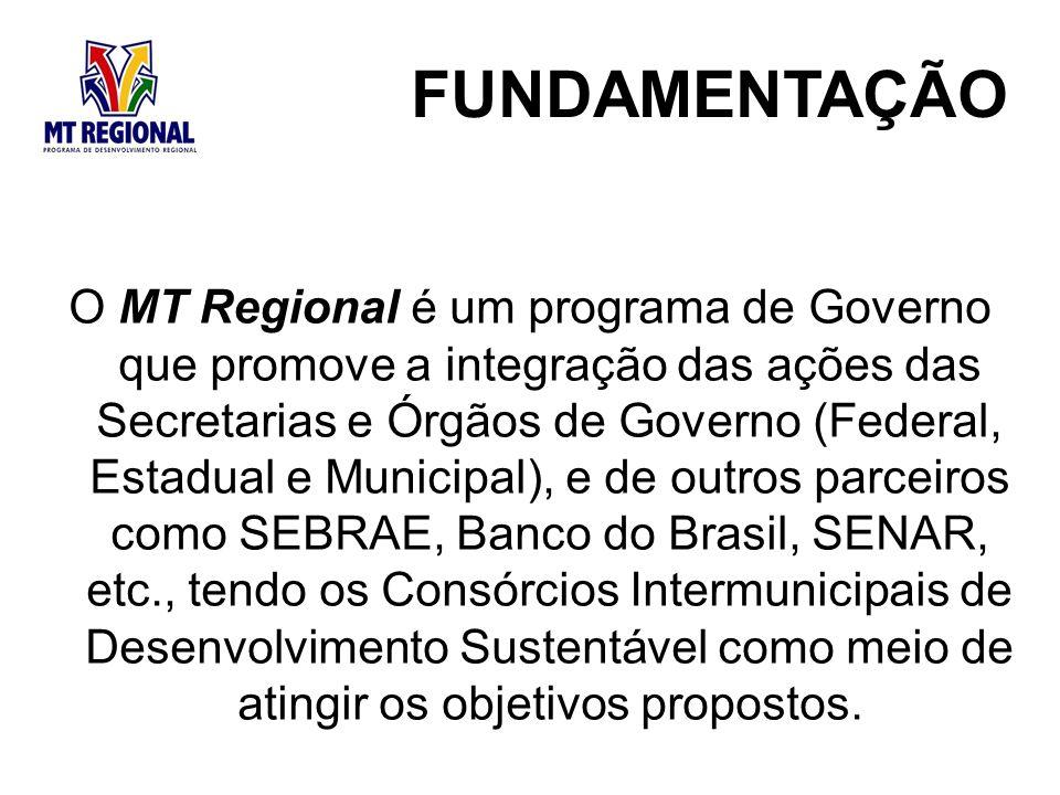O MT Regional é um programa de Governo que promove a integração das ações das Secretarias e Órgãos de Governo (Federal, Estadual e Municipal), e de outros parceiros como SEBRAE, Banco do Brasil, SENAR, etc., tendo os Consórcios Intermunicipais de Desenvolvimento Sustentável como meio de atingir os objetivos propostos.