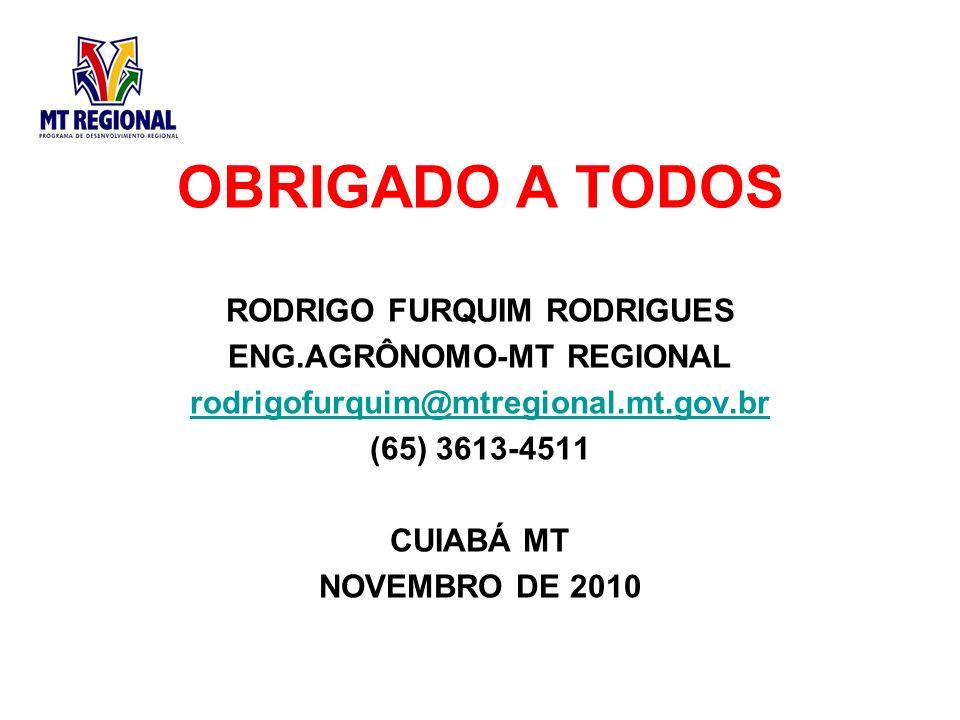 OBRIGADO A TODOS RODRIGO FURQUIM RODRIGUES ENG.AGRÔNOMO-MT REGIONAL rodrigofurquim@mtregional.mt.gov.br (65) 3613-4511 CUIABÁ MT NOVEMBRO DE 2010