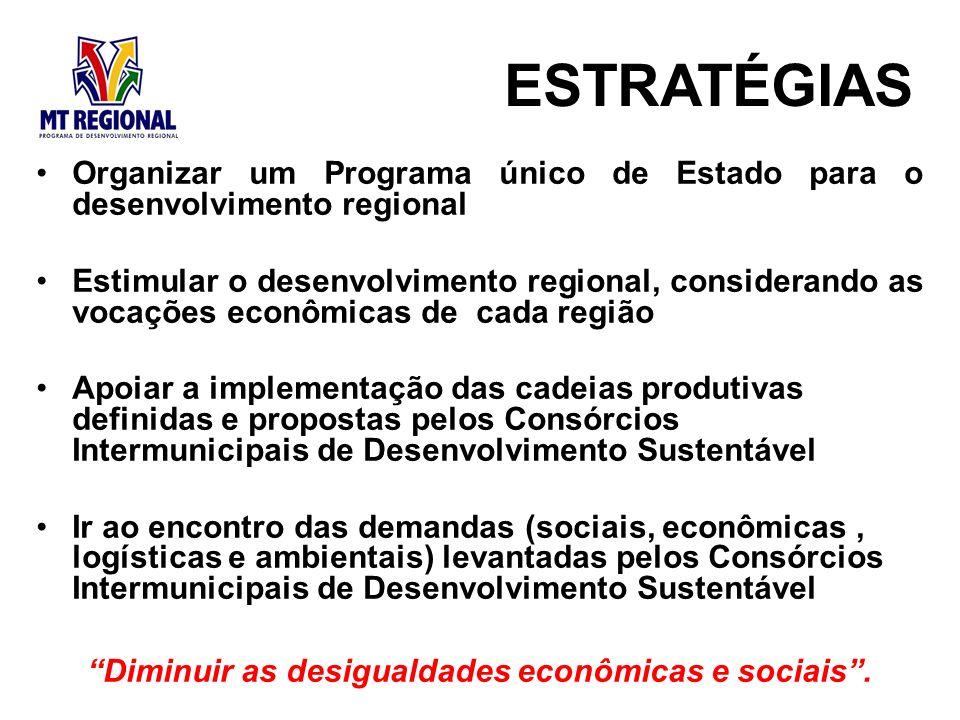 Organizar um Programa único de Estado para o desenvolvimento regional Estimular o desenvolvimento regional, considerando as vocações econômicas de cad