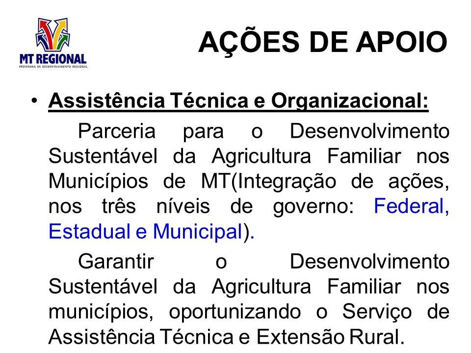 Assistência Técnica e Organizacional: Parceria para o Desenvolvimento Sustentável da Agricultura Familiar nos Municípios de MT(Integração de ações, nos três níveis de governo: Federal, Estadual e Municipal).