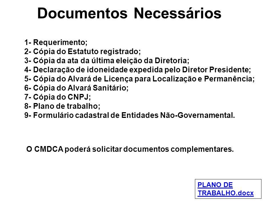 Documentos Necessários 1- Requerimento; 2- Cópia do Estatuto registrado; 3- Cópia da ata da última eleição da Diretoria; 4- Declaração de idoneidade e