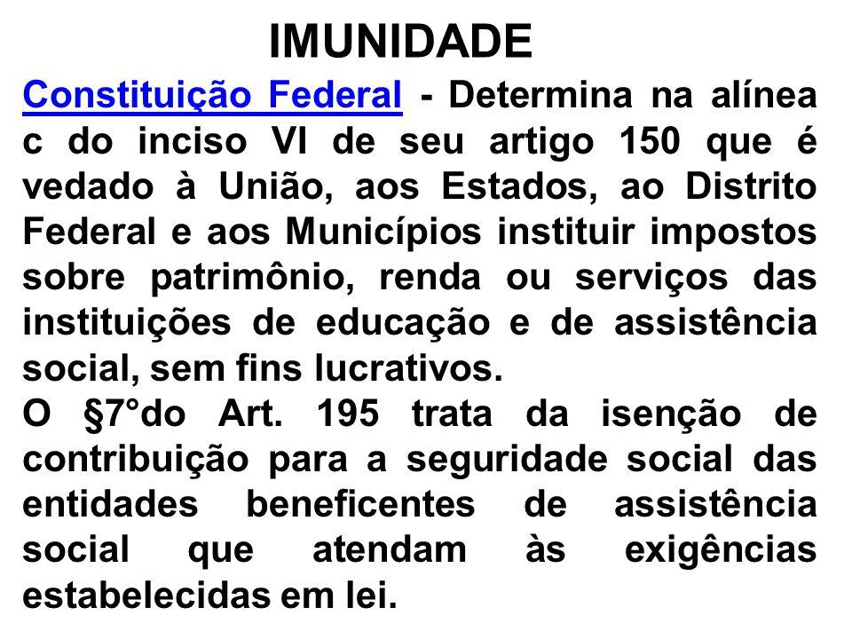 IMUNIDADE Constituição FederalConstituição Federal - Determina na alínea c do inciso VI de seu artigo 150 que é vedado à União, aos Estados, ao Distri