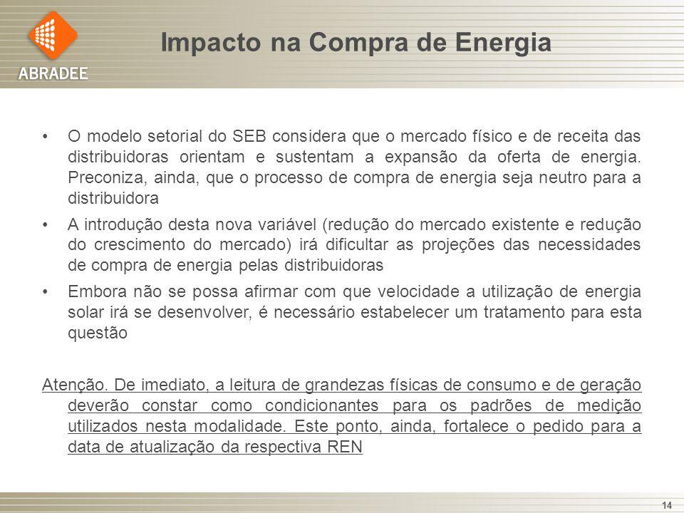 Impacto na Compra de Energia 14 O modelo setorial do SEB considera que o mercado físico e de receita das distribuidoras orientam e sustentam a expansã