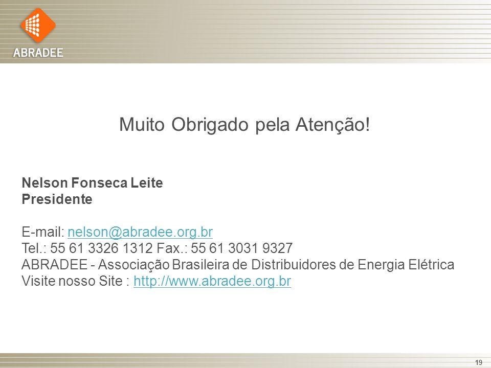 19 Muito Obrigado pela Atenção! Nelson Fonseca Leite Presidente E-mail: nelson@abradee.org.br Tel.: 55 61 3326 1312 Fax.: 55 61 3031 9327 ABRADEE - As
