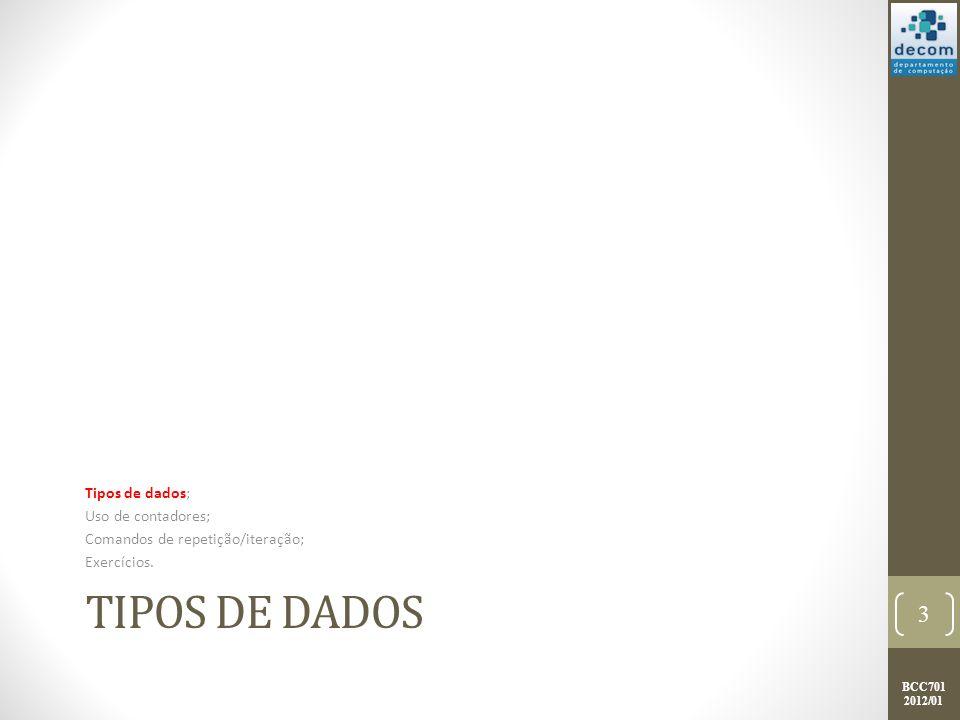 BCC701 2012/01 TIPOS DE DADOS Tipos de dados; Uso de contadores; Comandos de repetição/iteração; Exercícios.