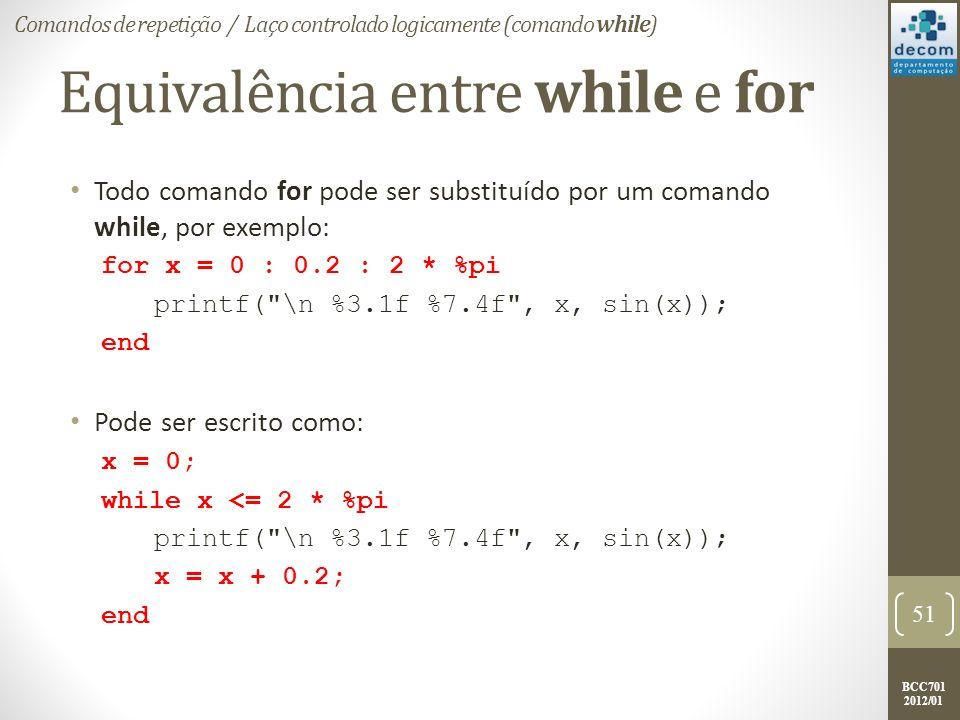 BCC701 2012/01 Equivalência entre while e for Todo comando for pode ser substituído por um comando while, por exemplo: for x = 0 : 0.2 : 2 * %pi printf( \n %3.1f %7.4f , x, sin(x)); end Pode ser escrito como: x = 0; while x <= 2 * %pi printf( \n %3.1f %7.4f , x, sin(x)); x = x + 0.2; end 51 Comandos de repetição / Laço controlado logicamente (comando while)