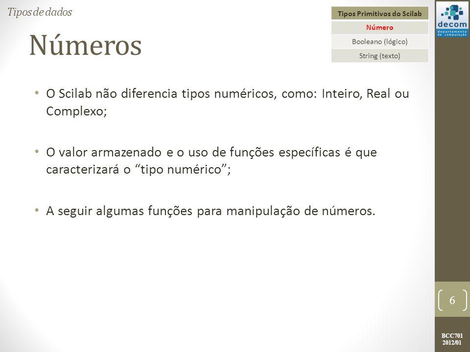 BCC701 2012/01 numero = input( DIGITE UM DECIMAL: ); printf( O EQUIVALENTE EM BINÁRIO É:\n ); printf( OBS: LEIA O BINÁRIO DA ); printf(DIREITA PARA A ESQUERDA\n\n ); quociente = int(numero / 2); while (quociente <> 0) digito = modulo(numero, 2); printf( %g , digito); numero = quociente; quociente = int(numero / 2); end digito = modulo(numero, 2); printf( %g , digito); 67 Exercícios Decimal para Binário