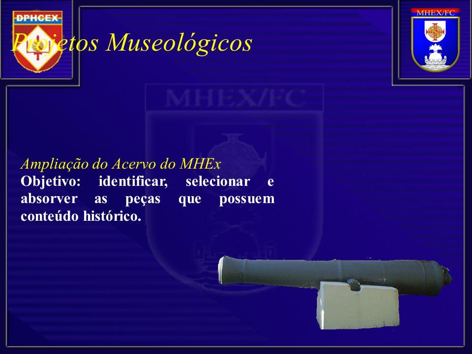 Ampliação do Acervo do MHEx Objetivo: identificar, selecionar e absorver as peças que possuem conteúdo histórico.