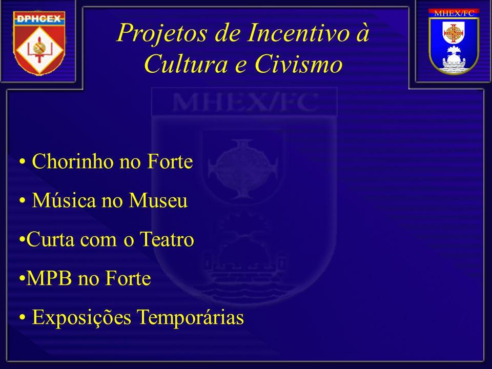 Chorinho no Forte Música no Museu Curta com o Teatro MPB no Forte Exposições Temporárias Projetos de Incentivo à Cultura e Civismo