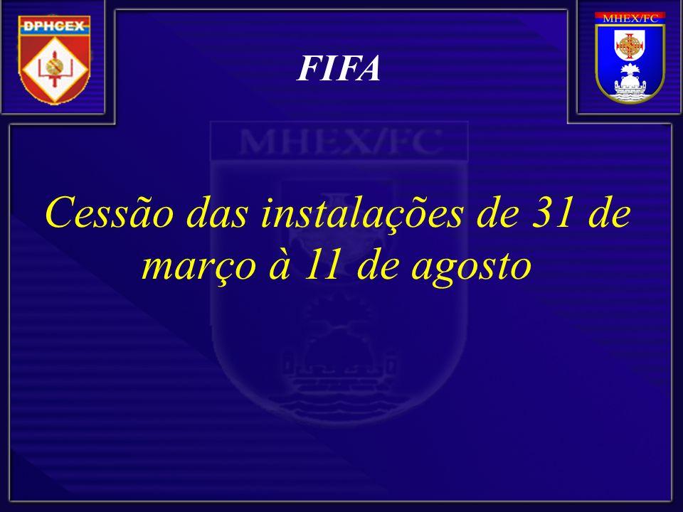 FIFA Cessão das instalações de 31 de março à 11 de agosto