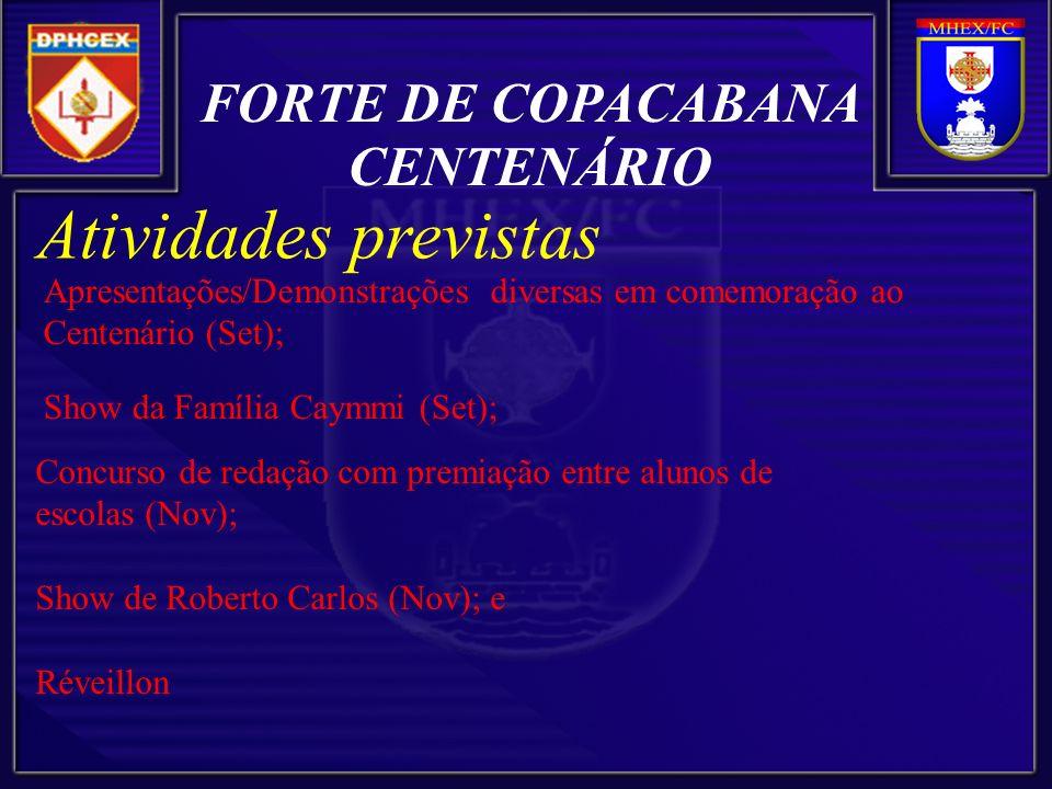 Atividades previstas Apresentações/Demonstrações diversas em comemoração ao Centenário (Set); Show da Família Caymmi (Set); FORTE DE COPACABANA CENTENÁRIO Concurso de redação com premiação entre alunos de escolas (Nov); Show de Roberto Carlos (Nov); e Réveillon