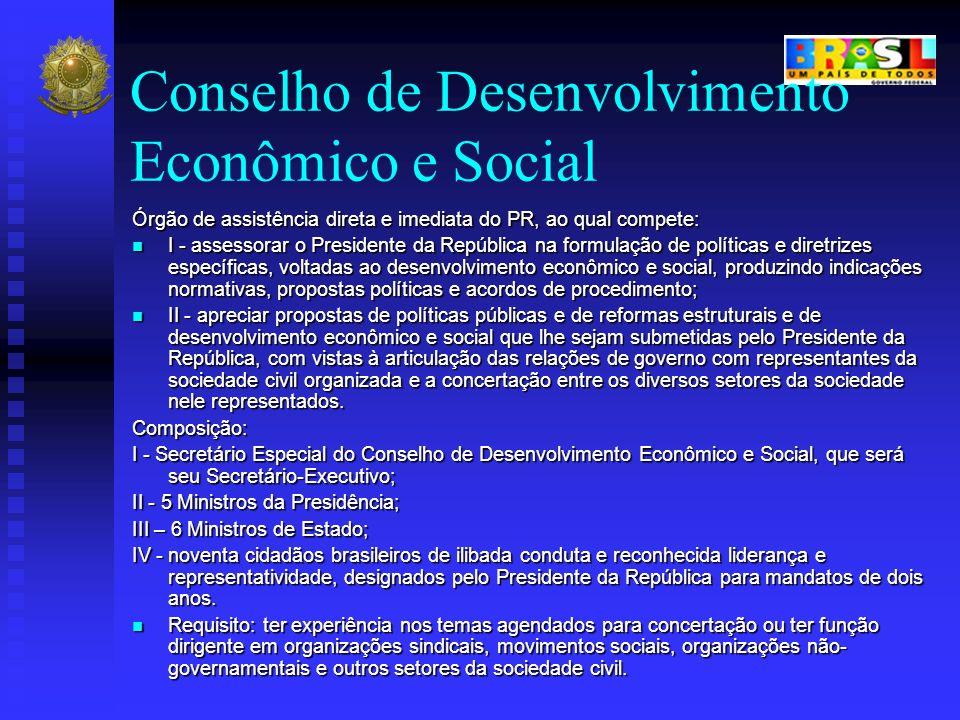 Conselho de Desenvolvimento Econômico e Social Órgão de assistência direta e imediata do PR, ao qual compete: I - assessorar o Presidente da República