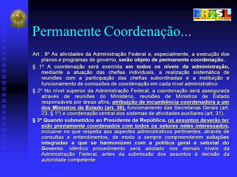 Permanente Coordenação... Art. 8º As atividades da Administração Federal e, especialmente, a execução dos planos e programas de governo, serão objeto