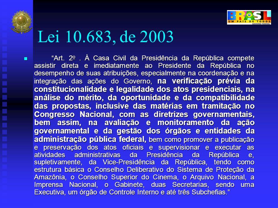 Lei 10.683, de 2003 Art. 2 o. À Casa Civil da Presidência da República compete assistir direta e imediatamente ao Presidente da República no desempenh