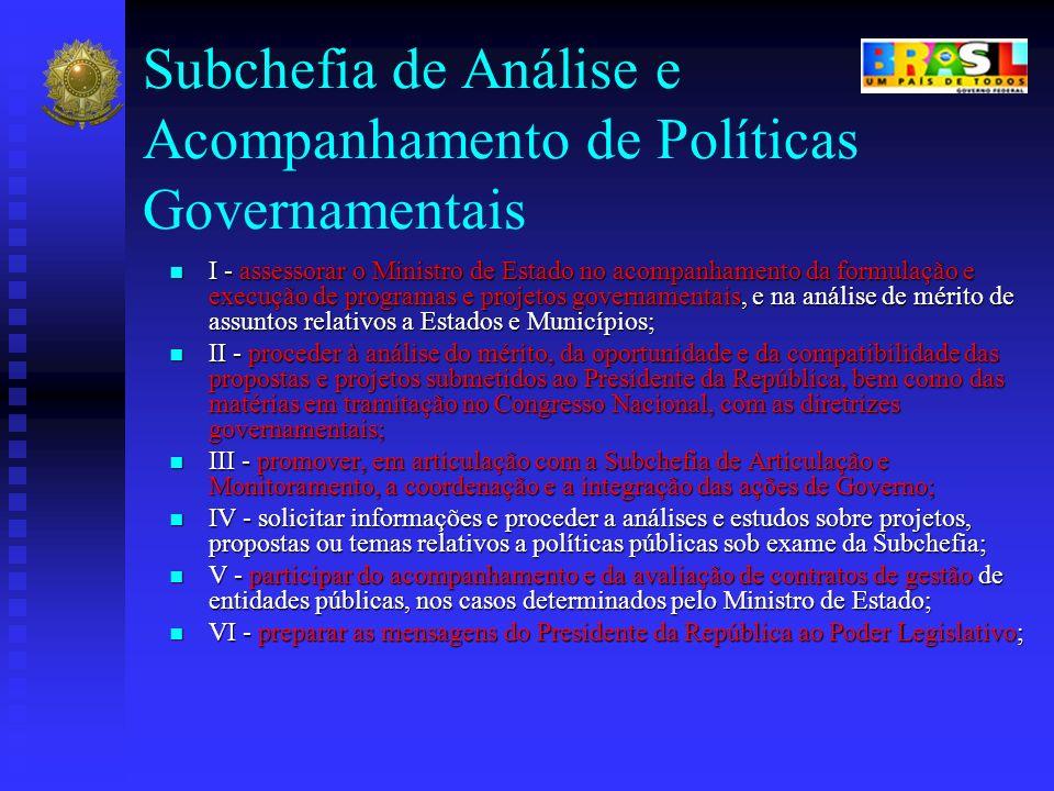 Subchefia de Análise e Acompanhamento de Políticas Governamentais I - assessorar o Ministro de Estado no acompanhamento da formulação e execução de pr