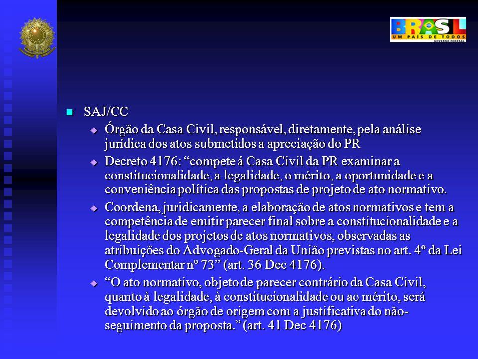 SAJ/CC SAJ/CC Órgão da Casa Civil, responsável, diretamente, pela análise jurídica dos atos submetidos a apreciação do PR Órgão da Casa Civil, respons