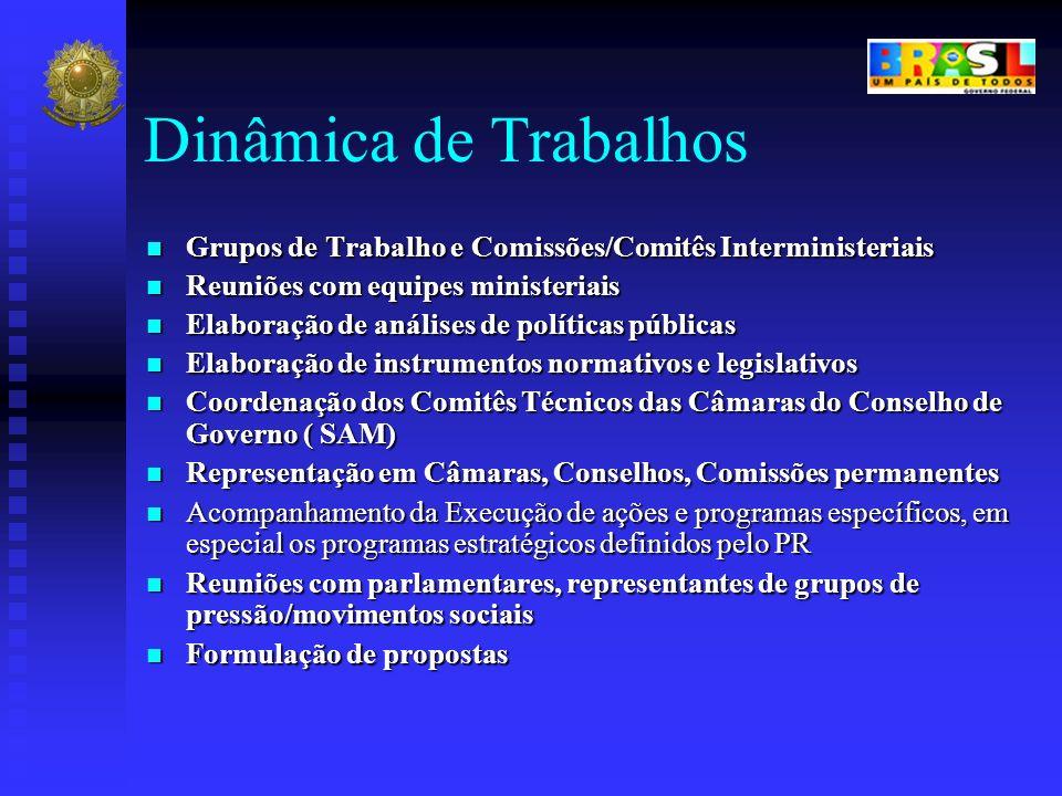 Dinâmica de Trabalhos Grupos de Trabalho e Comissões/Comitês Interministeriais Grupos de Trabalho e Comissões/Comitês Interministeriais Reuniões com e
