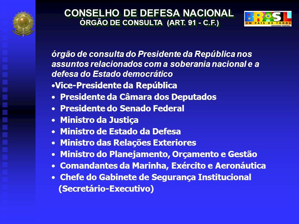 CONSELHO DE DEFESA NACIONAL ÓRGÃO DE CONSULTA (ART. 91 - C.F.) CONSELHO DE DEFESA NACIONAL ÓRGÃO DE CONSULTA (ART. 91 - C.F.) órgão de consulta do Pre