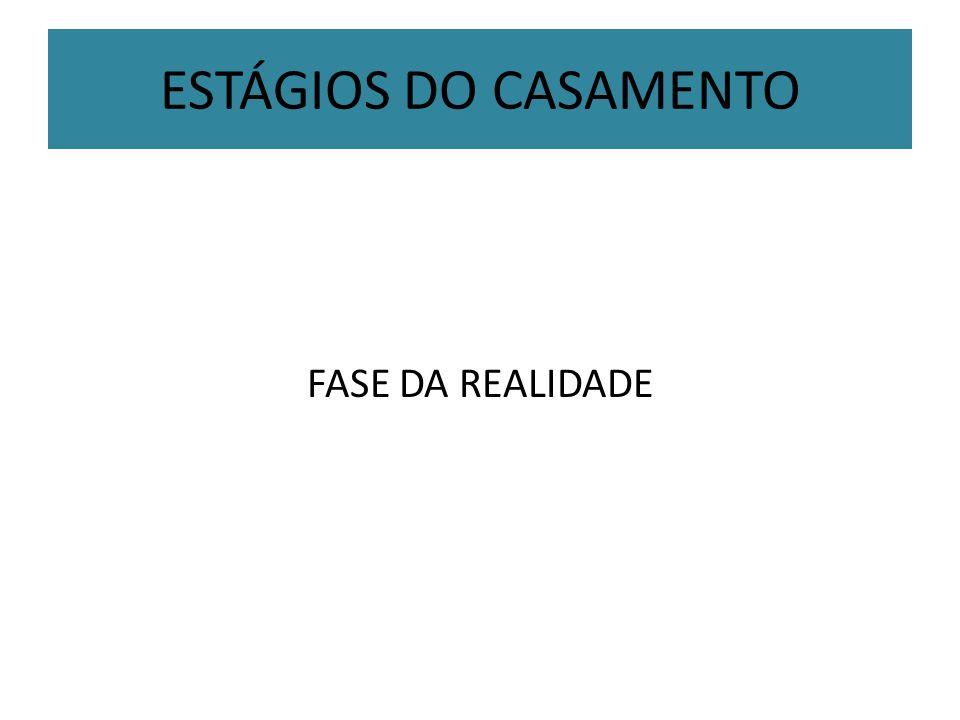 ESTÁGIOS DO CASAMENTO FASE DA REALIDADE