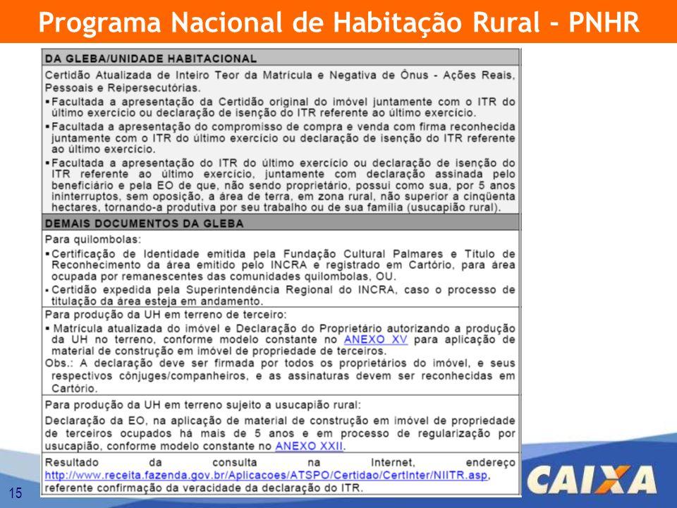 15 Programa Nacional de Habitação Rural - PNHR