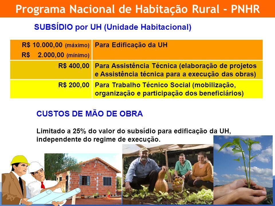 17 SUBSÍDIO por UH (Unidade Habitacional) Programa Nacional de Habitação Rural - PNHR R$ 10.000,00 (máximo) R$ 2.000,00 (mínimo) Para Edificação da UH R$ 400,00Para Assistência Técnica (elaboração de projetos e Assistência técnica para a execução das obras) R$ 200,00Para Trabalho Técnico Social (mobilização, organização e participação dos beneficiários) CUSTOS DE MÃO DE OBRA Limitado a 25% do valor do subsídio para edificação da UH, independente do regime de execução.
