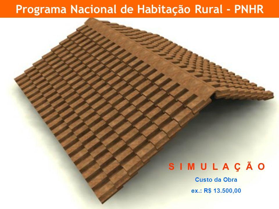 20 Programa Nacional de Habitação Rural - PNHR S I M U L A Ç Ã O Custo da Obra ex.: R$ 13.500,00