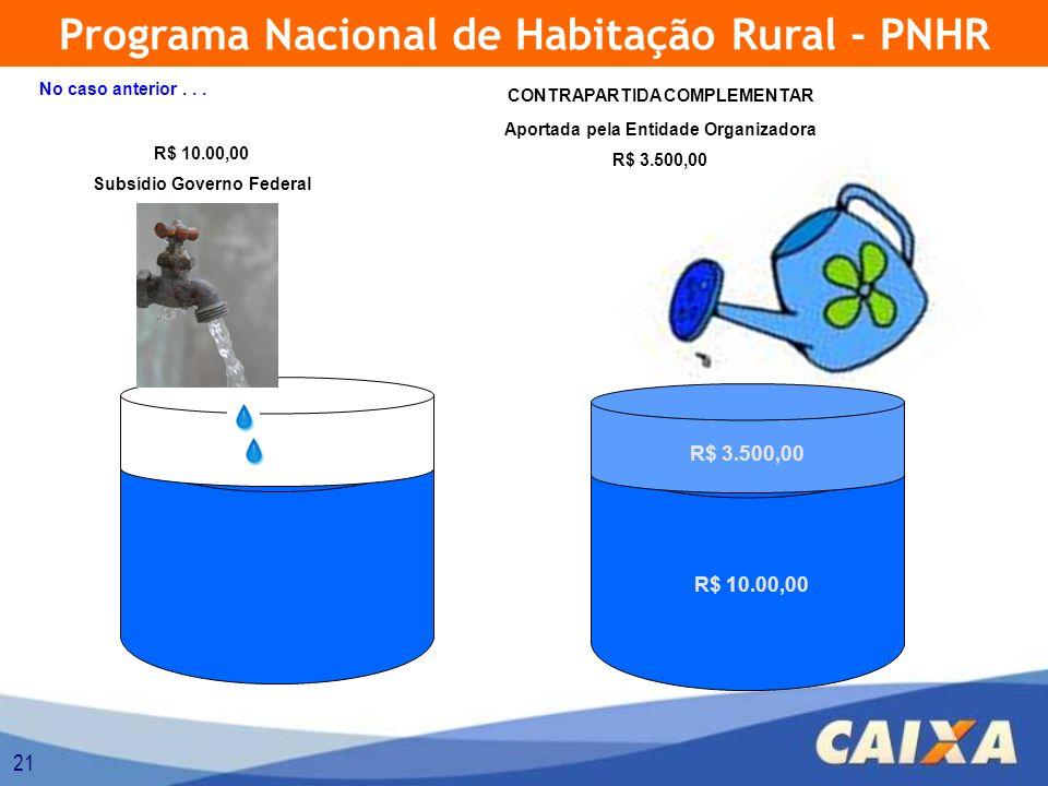 21 Programa Nacional de Habitação Rural - PNHR R$ 10.00,00 Subsídio Governo Federal Aportada pela Entidade Organizadora R$ 3.500,00 R$ 10.00,00 R$ 3.500,00 CONTRAPARTIDA COMPLEMENTAR No caso anterior...