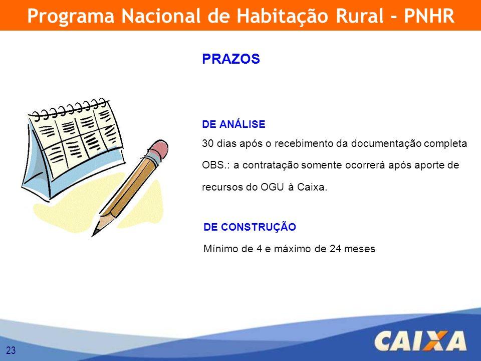 23 Programa Nacional de Habitação Rural - PNHR PRAZOS DE ANÁLISE 30 dias após o recebimento da documentação completa OBS.: a contratação somente ocorrerá após aporte de recursos do OGU à Caixa.
