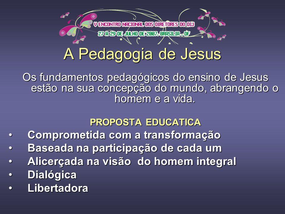 A Pedagogia de Jesus Os fundamentos pedagógicos do ensino de Jesus estão na sua concepção do mundo, abrangendo o homem e a vida.