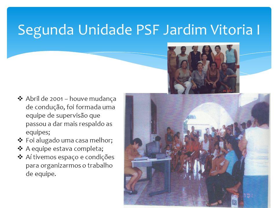 Segunda Unidade PSF Jardim Vitoria I Abril de 2001 – houve mudança de condução, foi formada uma equipe de supervisão que passou a dar mais respaldo as