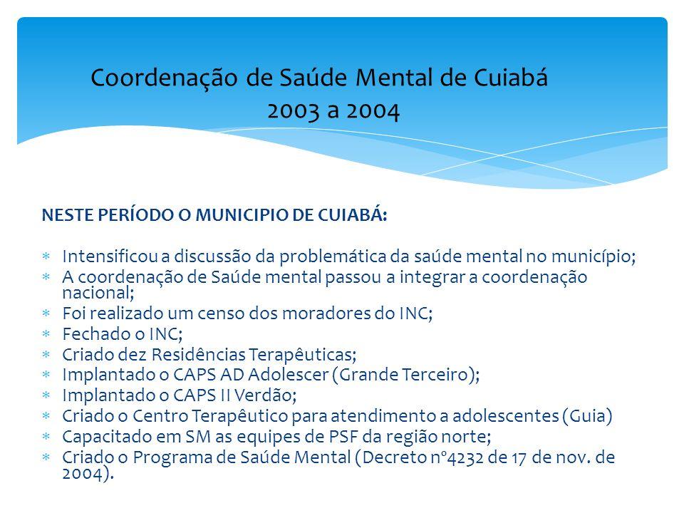 NESTE PERÍODO O MUNICIPIO DE CUIABÁ: Intensificou a discussão da problemática da saúde mental no município; A coordenação de Saúde mental passou a int