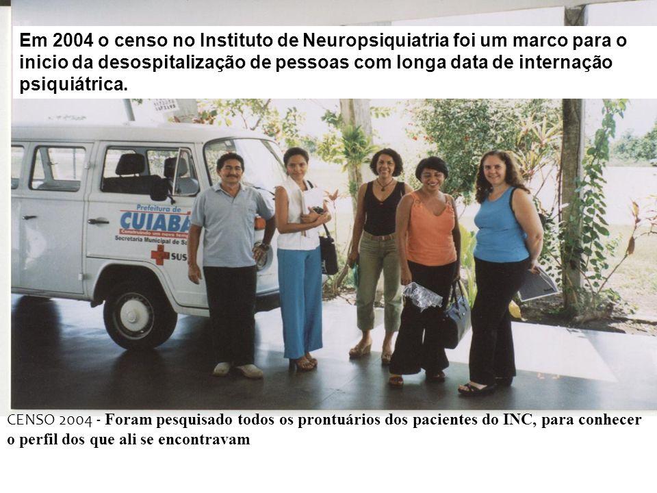 Em 2004 o censo no Instituto de Neuropsiquiatria foi um marco para o inicio da desospitalização de pessoas com longa data de internação psiquiátrica.