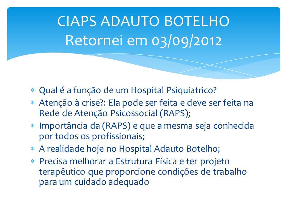 Qual é a função de um Hospital Psiquiatrico? Atenção à crise?: Ela pode ser feita e deve ser feita na Rede de Atenção Psicossocial (RAPS); Importância