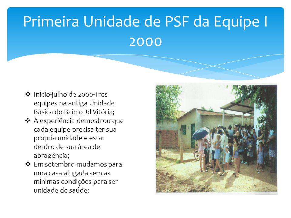 Primeira Unidade de PSF da Equipe I 2000 Inicio-julho de 2000-Tres equipes na antiga Unidade Basica do Bairro Jd Vitória; A experiência demostrou que