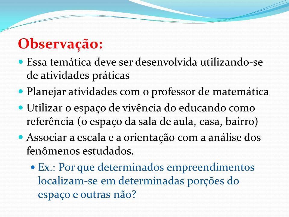 Observação: Essa temática deve ser desenvolvida utilizando-se de atividades práticas Planejar atividades com o professor de matemática Utilizar o espa